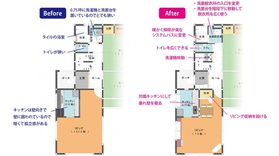 菊川市 水廻りリフォーム図面
