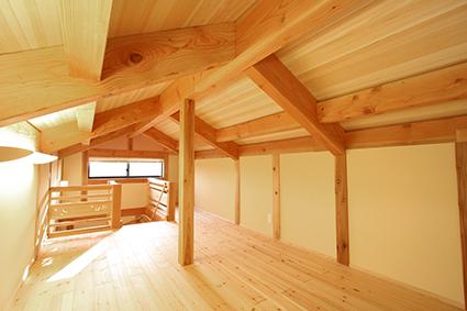 郷の家大空間の小屋裏ロフト